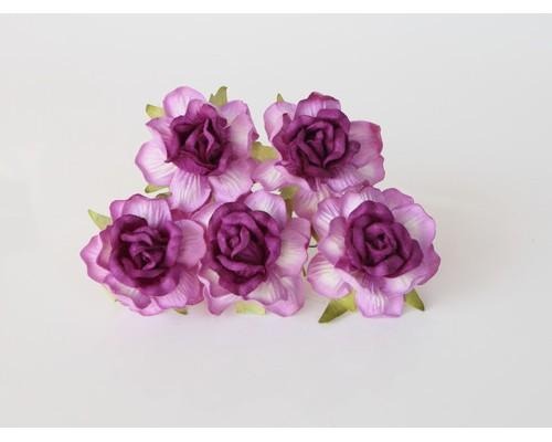 Кудрявые розы 4 см -фиолетовые двухтоновые, 5 шт