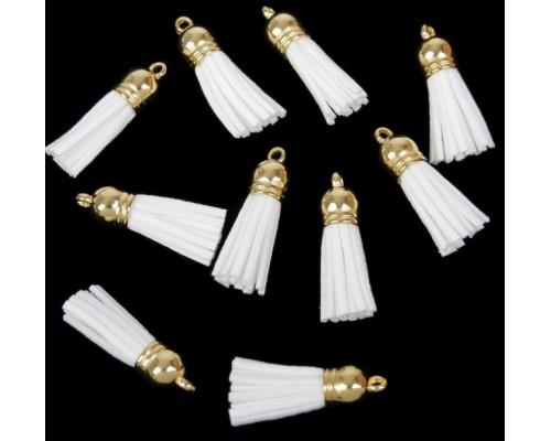 Замшевая кисточка белая, с золотым подвесом 1 шт.