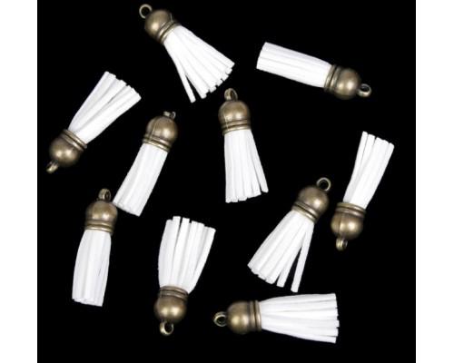 Замшевая кисточка белая, с бронзовым подвесом 1 шт.