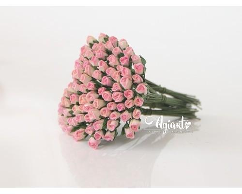 Бутоны роз мини Розовый+Желтый, 10 шт