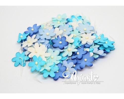 Набор цветов 2 см: голубое ассорти, 20 шт.