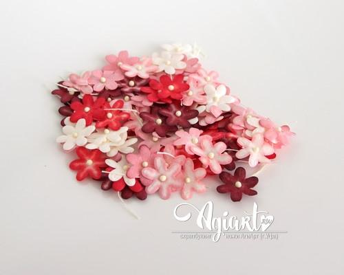 Набор цветов 2 см: красное ассорти, 20 шт.