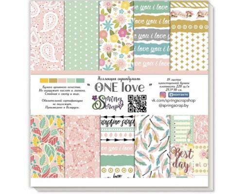 """Набор бумаги 20*20 см """"One love"""", 19 листов, SpringScrap"""