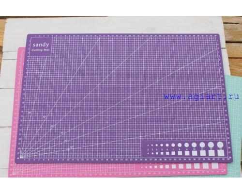 """Коврик (мат) для резки """"Фиолетовый"""" А3 - 45*30 см."""