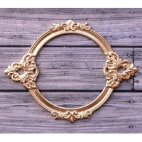 Металлическая рамка для записей Барокко круглая, цвет Золото, Просвет