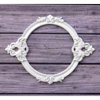 Металлическая рамка для записей Барокко круглая, цвет Белый, Просвет