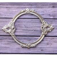 Металлическая рамка для записей Барокко круглая, цвет Серебро, Просвет