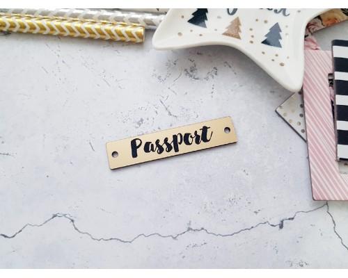 """Шильдик """"Passport №2"""", 1 шт., матовое золото, Космокотики"""