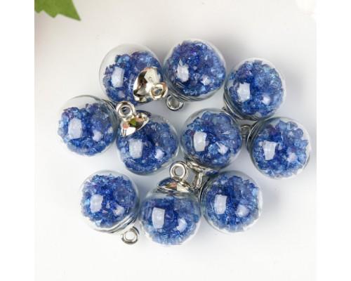 """Подвеска """"Стеклянный шар с кристаллами"""", синий, 1 шт."""