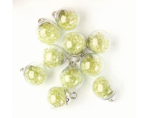 """Подвеска """"Стеклянный шар с кристаллами"""", желто-зеленый, 1 шт."""