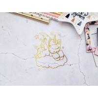 """Термотрансферная фигура """"Единорог на облаке"""" золото глянец, 8х9,3см. Космокотики"""