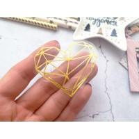 """Термотрансферная фигура """"Геометрическое сердце"""" золото глянец, 5х4,4см. Космокотики"""