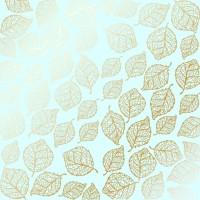 """Лист фольгированной бумаги  """"Golden Delicate Leaves Mint"""" Фабрика Декору"""