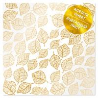 """Ацетатный лист с фольгированием """"Golden Leaves"""" 30.5*30.5 cm"""
