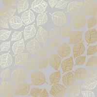 """Лист фольгированной бумаги  """"Golden Delicate Leaves Gray"""" Фабрика Декору"""