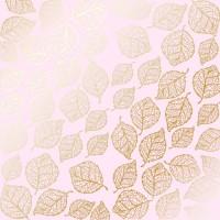 """Лист фольгированной бумаги  """"Golden Delicate Leaves Light pink"""" Фабрика Декору"""