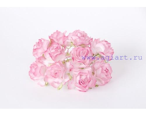 Кудрявые розы 3 см Белый + розовые кончики, 5 шт