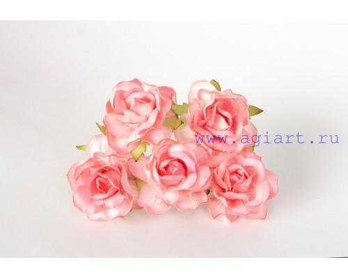 Кудрявые розы 4 см -Коралловые, 5 шт