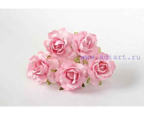 Кудрявые розы 4 см -Св.розовые, 5 шт