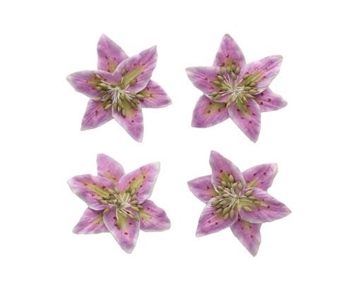 цветы Лилии, набор 4 шт сиреневый+белый