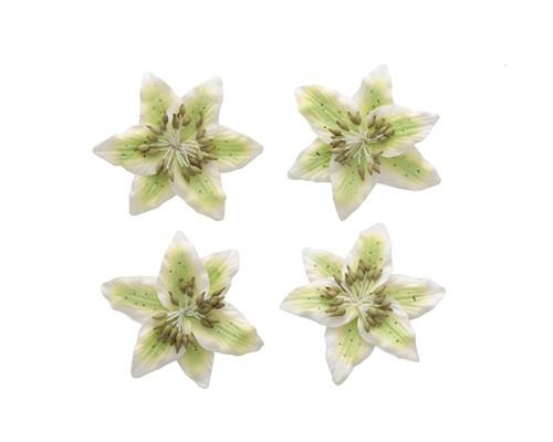 цветы Лилии, набор 4 шт зеленый+белый