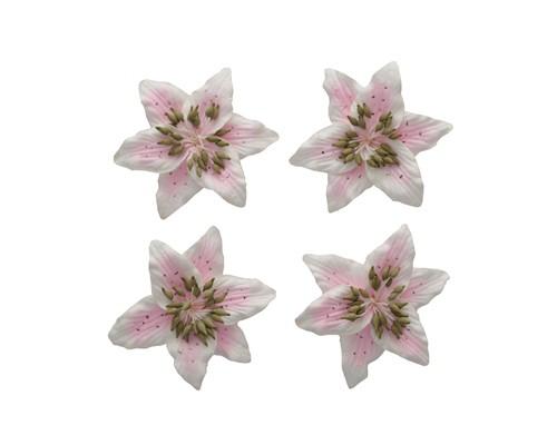 цветы Лилии, набор 4 шт розовый+белый