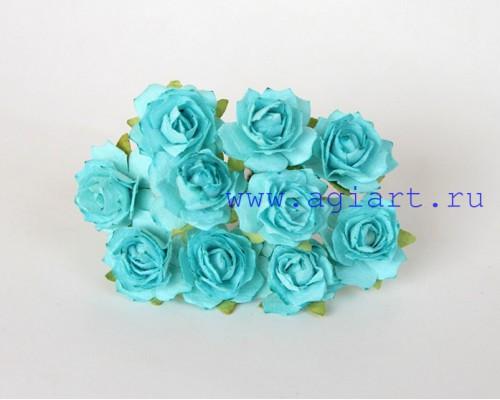 Кудрявые розы 2 см - ярко-бирюзовые , 5 шт