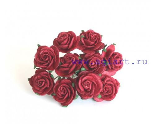Розы красные размер 2 см 5 шт