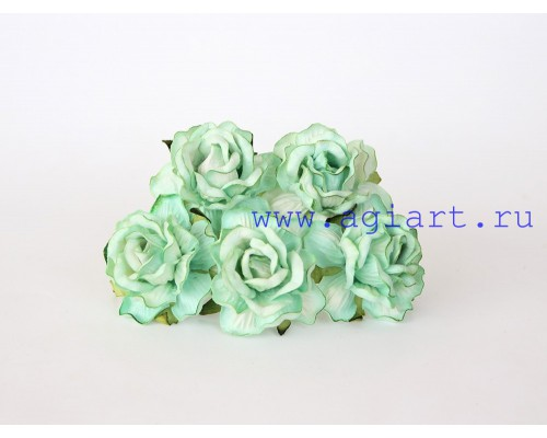 Кудрявые розы 4 см -Св. зеленые, 5 шт