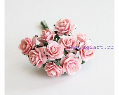 розы розово-персиковые 1,5 см, 10шт.