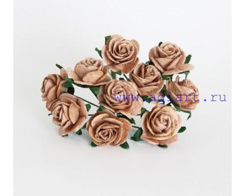 Розы кофейные 2 см, 5 шт.