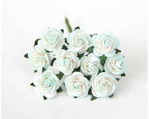 розы мятно-белые 1,5 см, 10шт.