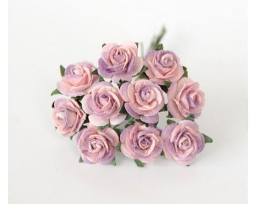розы розовый+сиреневый 1,5 см, 10 шт.