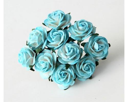 Розы бирюзовый+ белый размер 2 см 5 шт