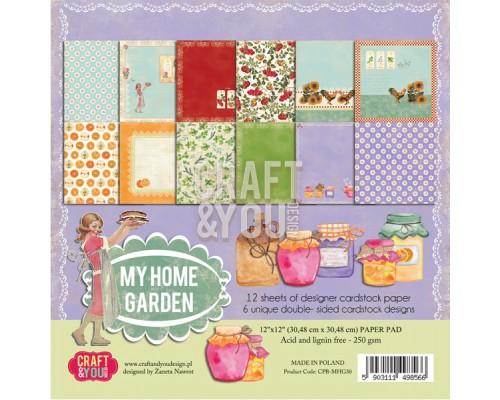 """Набор бумаги 30*30 """"My Home Garden"""" Craftandyou 12 листов"""