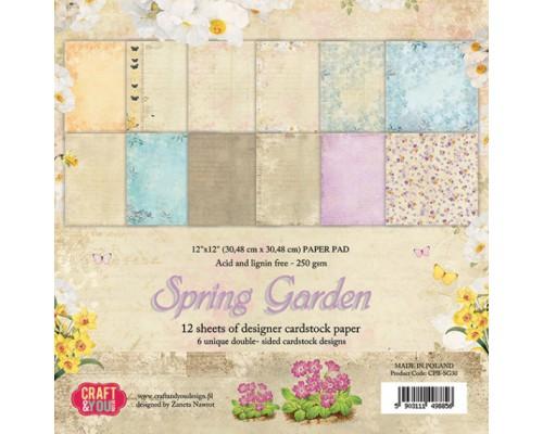 """Набор бумаги 30*30  """"Spring Garden"""" Craftandyou 12 листов"""