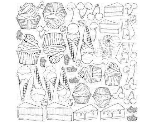 """Лист для для раскрашивания аква чернилами """"Candy Shop"""", 30,5x30,5см Фабрика Декору"""
