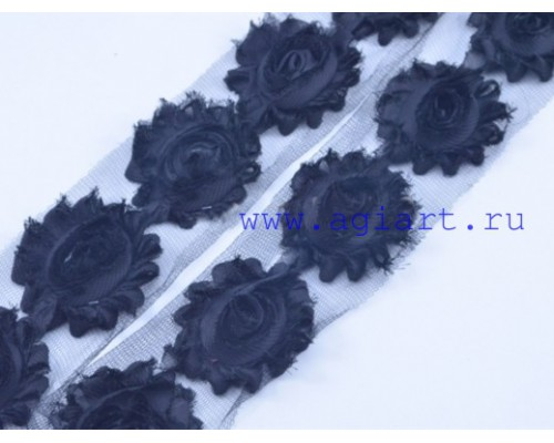 Лента с розами широкая -черная, 50 см