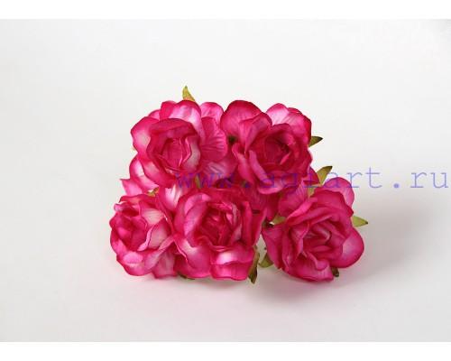 Кудрявые розы 4 см -фуксия, 5 шт