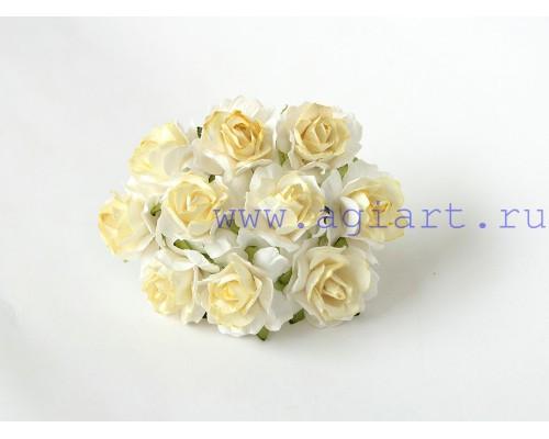 Кудрявые розы 3 см- Белые с желтым, 5 шт