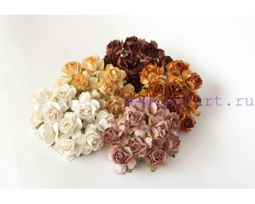 Кудрявые розы 3 см -Винтажное ассорти , 5 шт