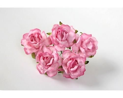 Кудрявые розы 4 см -Розовые, 5 шт