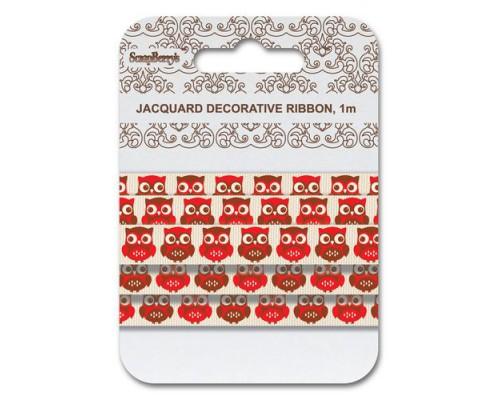 Лента жаккардовая, Совы красные, 15мм, 1м Scrapberrys