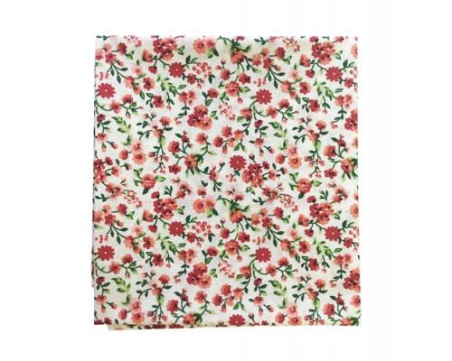 Ткань хлопок Мильфлер мелкие красные цветы на желтом 50*55 см Гела