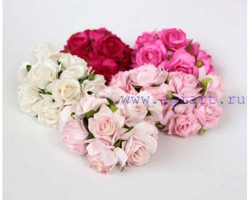 Кудрявые розы 3 см -Розовое ассорти , 5 шт