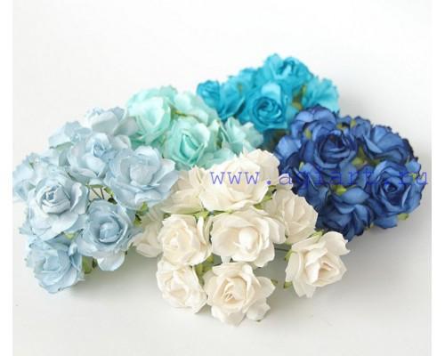 Кудрявые розы 3 см -Голубое ассорти , 5 шт