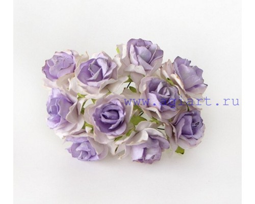 Кудрявые розы 3 см -Св. сиреневый+белый , 5 шт