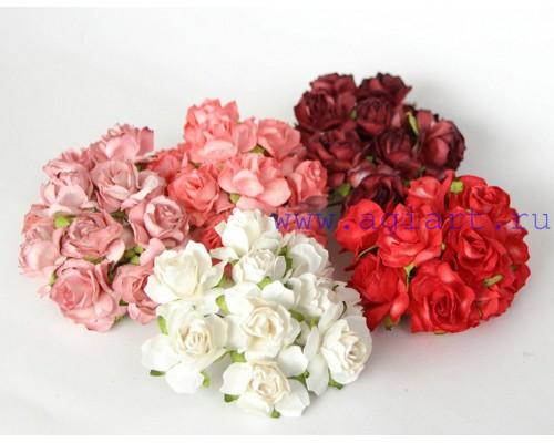 Кудрявые розы 3 см -Красное ассорти , 5 шт