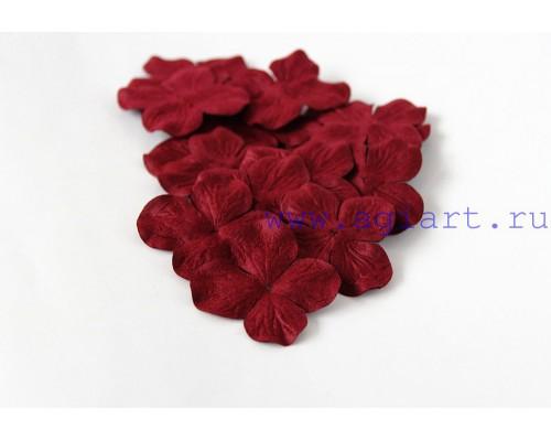 Гортензии бордовые бумажные, 5 см 10 шт