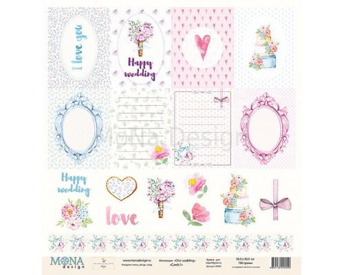 "Бумага двусторонняя серии ""Chic wedding"" Карточки 1, Mona Design"